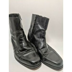 Florsheim Black Leather Zip-Up Ankle Boots Size 10